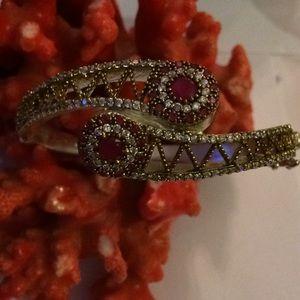 Vintage 925 ruby and topaz bracelet
